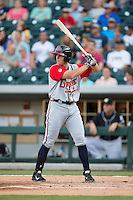 Jordan Lennerton (32) of the Gwinnett Braves at bat against the Charlotte Knights at BB&T BallPark on August 11, 2015 in Charlotte, North Carolina.  The Knights defeated the Braves 3-2.  (Brian Westerholt/Four Seam Images)