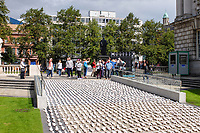 Shrouds of the Somme event in the Garden of Remembrance at Belfast City Hall, N Ireland, August, September, 2018. The handmade figures represent those from Irish regiments, North &amp; South, who fell and who have no known grave. For more information go to www.shroudsofthesomme.com. 201808254502<br />