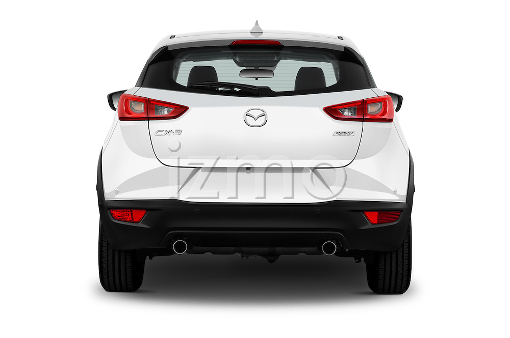 Straight rear view of 2017 Mazda CX-3 Grand-Touring 5 Door SUV Rear View  stock images