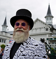 LOUISVILLE, KY - MAY 06: A man wears a jacket covered in mustaches matching his own on Kentucky Derby Day at Churchill Downs on May 6, 2017 in Louisville, Kentucky. (Photo by Jesse Caris/Eclipse Sportswire/Getty Images)