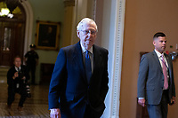 United States Senate Majority Leader Mitch McConnell (Republican of Kentucky) walks to his office following a cloture vote on a Coronavirus Stimulus Package at the United States Capitol in Washington D.C., U.S., on Monday, March 23, 2020.  The package was defeated in a cloture vote by Senate Democrats for the second day in a row.  Credit: Stefani Reynolds / CNP/AdMedia