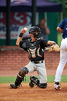 Bristol Pirates catcher Manny Bejerano (24) throws back to the pitcher during a game against the Elizabethton Twins on July 29, 2018 at Joe O'Brien Field in Elizabethton, Tennessee.  Bristol defeated Elizabethton 7-4.  (Mike Janes/Four Seam Images)