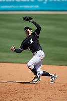 Kannapolis Intimidators second baseman Daniel Mendick (22) catches a pop fly during the game against the Delmarva Shorebirds at Kannapolis Intimidators Stadium on April 13, 2016 in Kannapolis, North Carolina.  The Intimidators defeated the Shorebirds 8-7.  (Brian Westerholt/Four Seam Images)
