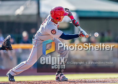 16 July 2017: Auburn Doubledays infielder Andres Martinez lays down a sacrifice bunt advancing runners to second and third, in the third inning against the Vermont Lake Monsters at Centennial Field in Burlington, Vermont. The Monsters defeated the Doubledays 6-3 in NY Penn League action. Mandatory Credit: Ed Wolfstein Photo *** RAW (NEF) Image File Available ***