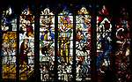 Sixteenth century stained glass windows inside church of Saint Mary, Fairford, Gloucestershire, England, UK - window 15 Rising from the dead for The Last Judgement