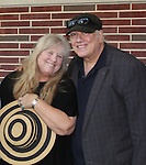 """Heather Mac Rae daughter of singer Gordon Mac Rae poses with friend Rick McKay as she stars in """"I Remember Mama"""" and poses with friend Rick McKay on June 23, 2016 at Two River Theatre, Red Bank, New Jersey which follows a successful sold out run in New York City, New York and poses with Vikki Thompson. (Photo by Sue Coflin/Max Photos)"""