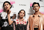 September 9, 2017, Tokyo, Japan - (L-R) Hikari Mori, Mika Nakashima and Ryo Ryusei pose for photo at the opening ceremony for the Vogue Fashion's Night Out 2017 in Tokyo on Saturday, September 9, 2017. Some 630 shops participated one-night fashion shopping event in Tokyo. (Photo by Yoshio Tsunoda/AFLO) LWX -ytd-