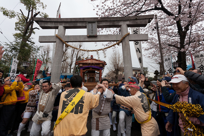 Festival supporters carry mikoshi or portable shrine with large phallus on them under the torii gate at the entrance to Kanayama Shrine during the Kanamara Matsuri, (Festival of the Steel Phallus). Kawasaki Daishi, Kanagawa, Japan. Sunday April 3rd 2016. The famous Kawasaki Penis Festival started in 1977 as a small festival to celebrate an old legend about the defeat of a penis eating demon. Today the festival is a huge draw for Japanese and foreign tourists and raises money for HIV and AIDS research.