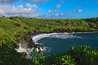 Wai'anapanapa black sand beach in Hana Maui