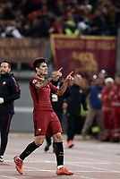 Football Soccer: UEFA Champions League AS Roma vs Chelsea Stadio Olimpico Rome, Italy, October 31, 2017. <br /> Roma's Diego Perotti celebrates after scoring during the Uefa Champions League football soccer match between AS Roma and Chelsea at Rome's Olympic stadium, October 31, 2017.<br /> UPDATE IMAGES PRESS/Isabella Bonotto