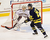 Brian Billett (BC - 1), Ryan Flanigan (Merrimack - 20) - The visiting Merrimack College Warriors tied the Boston College Eagles at 2 on Sunday, January 8, 2011, at Kelley Rink/Conte Forum in Chestnut Hill, Massachusetts.