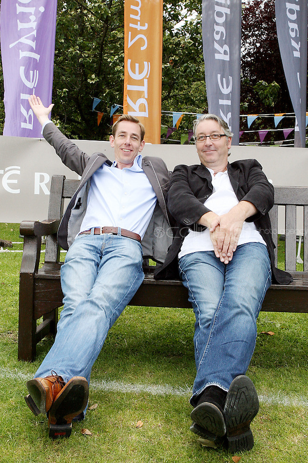 18/8/2010. RTE RADIO NEW SEASON LAUNCH. Radio presenters Colm Hayes, Ryan Tubridy and Hector Ó hEochagáin are pictured at the RTE Radio new Autumn season launch in Dublin. Picture James Horan/Collins Photos