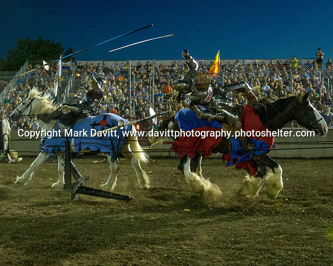 The Warren County Fair grandstand got very medieval July 27 when the nationally-known Knights of Valour performed a jousting tournament for a nearly packed house. The battle got underway as the Knights charged into each other to the shock and thrill of the crowd. A point system that included extra point for knocking a Knight from his horse.