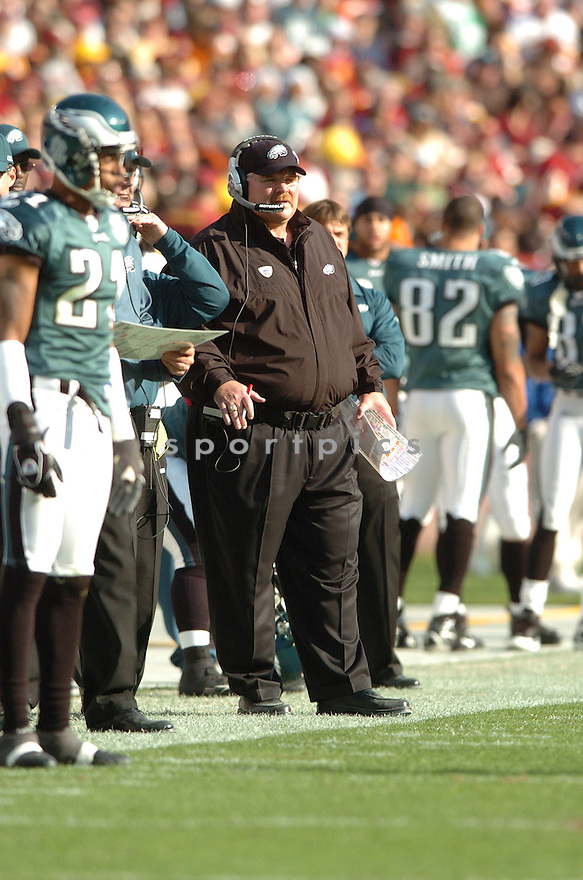 ANDY REID, of the Philadelphia Eagles in action during the Eagles game against the Washington Redskins on November 11, 2007 in Landover, Maryland...Eagles  win 33-25..SportPics