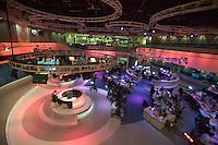 Qatar. Doha. Al Jazeera English Language Channel. Broadcast room. lauren Taylor, presenter presenting the news.