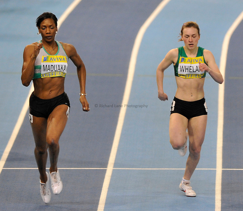 Photo: Paul Greenwood/Richard Lane Photography. Aviva World Trials & UK Championships. 14/02/2010. .Joice Maduaka, Niamh Whelan in the Womens 200m.
