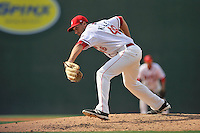 Pitcher Trevor Kelley (48) of the Greenville Drive delivers a pitch in a game against the Lakewood BlueClaws on Sunday, June 26, 2016, at Fluor Field at the West End in Greenville, South Carolina. Greenville won, 2-1. (Tom Priddy/Four Seam Images)