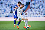 Cristiano Ronaldo (R) of Real Madrid fights for the ball with Hernan Arsenio Perez of Deportivo Alaves during the La Liga 2017-18 match between Real Madrid and Deportivo Alaves at Santiago Bernabeu Stadium on February 24 2018 in Madrid, Spain. Photo by Diego Souto / Power Sport Images