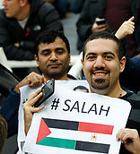 1st October 2017, St James Park, Newcastle upon Tyne, England; EPL Premier League football, Newcastle United versus Liverpool; Egyptian fans supporting Mohamed Salah of Liverpool