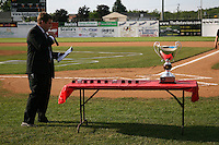 June 19, 2009:  Batavia Muckdogs General Manager Travis Sick addresses the crowd during a ceremony to award the 2008 NY-Penn League Champions before a game at Dwyer Stadium in Batavia, NY.  The Batavia Muckdogs are the NY-Penn League Short Season Class-A affiliate of the St. Louis Cardinals.  Photo by:  Mike Janes/Four Seam Images