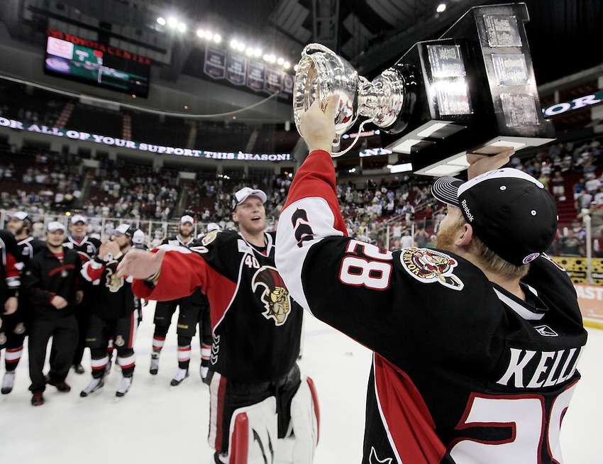 Binghamton Senators captain Ryan Keller lifts the Calder Cup after game six of the AHL Calder Cup Finals, Tuesday, June 7, 2011, in Houston. Binghamton won 3-2 to win the championship. (Darren Abate/pressphotointl.com/AHL)