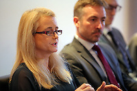 Pictured L-R: Justine Currell, executive director UNSEEN and police superintendent Jez Capey Thursday 02 March 2017<br /> Re: Multi-agency Wales and Albania Anti-Slavery Meeting discussing issues of people trafficking by organised gangs, Cardiff, UK