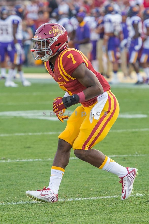 Iowa State Cyclones Qujuan Floyd (7) during a game against the Northern Iowa Panthers on September 5, 2015 at Jack Trice Stadium in Ames, Iowa. Iowa State beat Northern Iowa 31-7.