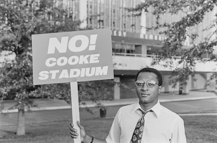 Herb Harris IV opposes new stadium in his neighborhood, on June 10, 1993. (Photo by Duncan Spencer/CQ Roll Call via Getty Images)