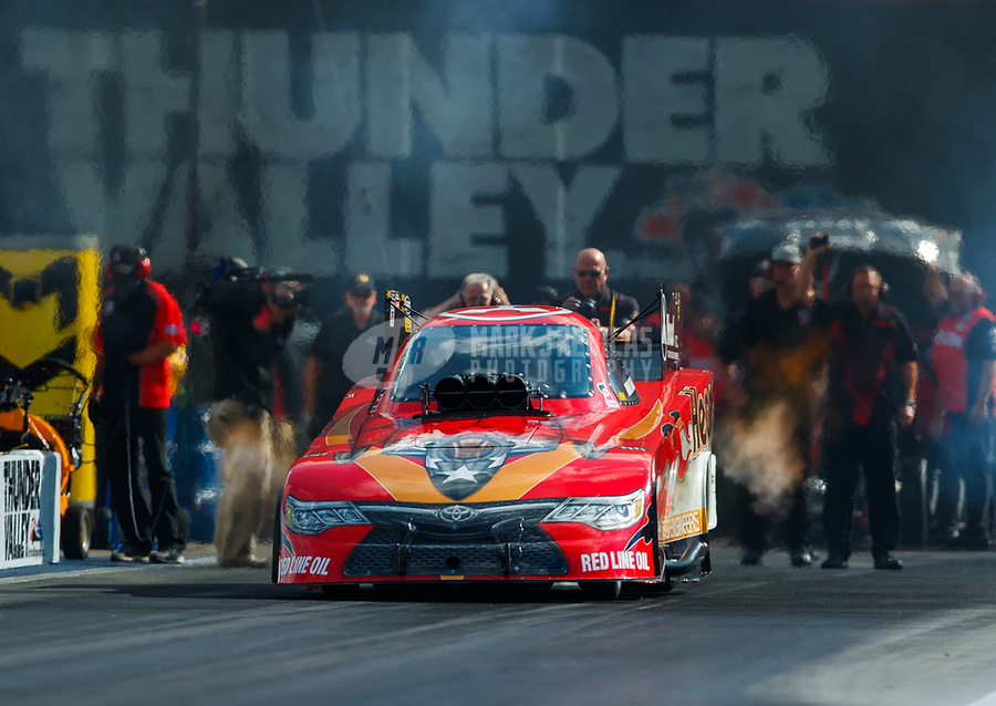 Jun 16, 2017; Bristol, TN, USA; NHRA funny car driver Jonnie Lindberg during qualifying for the Thunder Valley Nationals at Bristol Dragway. Mandatory Credit: Mark J. Rebilas-USA TODAY Sports