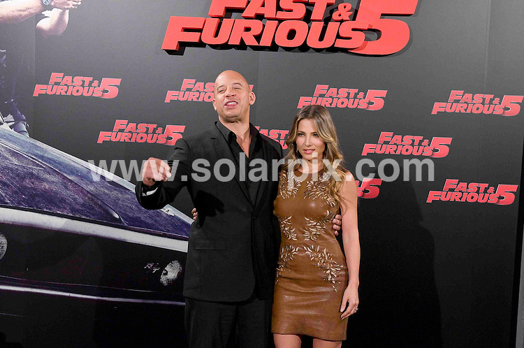 **ALL ROUND PICTURES FROM SOLARPIX.COM**                                             **WORLDWIDE SYNDICATION RIGHTS EXCEPT SPAIN & SOUTH AMERICA - NO SYNDICATION IN SPAIN OR SOUTH AMERICA**                                                                                  Caption: Vin Diesel and Elsa Pataky attend a photo call for Fast and the Furious 5, held at the Santo Mauro Hotel, Madrid, Spain. 26 April 2011                                                                            This pic: Vin Diesel and Elsa Pataky                                                                                             JOB REF: 13207 MPA       DATE: 26_04_2011                                                           **MUST CREDIT SOLARPIX.COM OR DOUBLE FEE WILL BE CHARGED**                                                                      **MUST AGREE FEE BEFORE ONLINE USAGE**                               **CALL US ON: +34 952 811 768 or LOW RATE FROM UK 0844 617 7637**