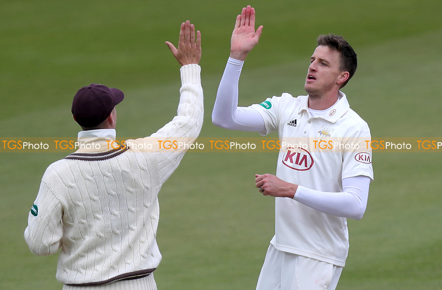 Morne Morkel of Surrey celebrates taking the wicket of Robbie White during Surrey CCC vs Essex CCC, Specsavers County Championship Division 1 Cricket at the Kia Oval on 13th April 2019