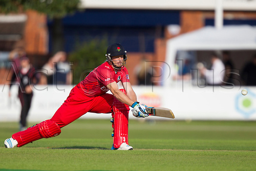 11.07.2014. Leicester, England. NatWest T20 Blast, Leicestershire Foxes vs Lancashire Lightning.  JC BUTTLER (Lancashire Lightning) attempts a reverse sweep.