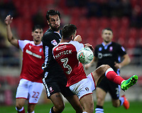 Lincoln City's Ollie Palmer vies for possession with Rotherham United&rsquo;s Joe Mattock<br /> <br /> Photographer Chris Vaughan/CameraSport<br /> <br /> The Carabao Cup First Round - Rotherham United v Lincoln City - Tuesday 8th August 2017 - New York Stadium - Rotherham<br />  <br /> World Copyright &copy; 2017 CameraSport. All rights reserved. 43 Linden Ave. Countesthorpe. Leicester. England. LE8 5PG - Tel: +44 (0) 116 277 4147 - admin@camerasport.com - www.camerasport.com