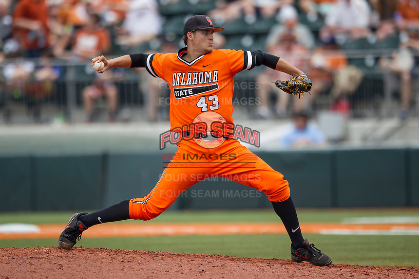 Oklahoma State Cowboys pitcher Blake Battenfied #43 delivers a pitch to the plate during the NCAA baseball game against the Texas Longhorns on April 26, 2014 at UFCU Disch–Falk Field in Austin, Texas. The Cowboys defeated the Longhorns 2-1. (Andrew Woolley/Four Seam Images)
