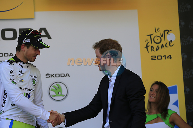 Peter Sagan (SVK) Cannondale wins the 1st young rider's White Jersey presented by HRH Prince Harry at the end of the 2014 Tour de France running 190.5km from Leeds to Harrogate. 5th July 2014.<br /> Picture: Eoin Clarke www.newsfile.ie