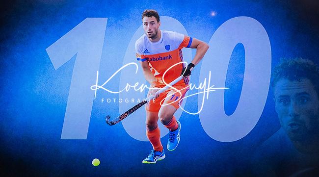 VOGELENZANG -  Glenn Schuurman (Ned) speelde 100 interlands. Spelerslunch KNHB 2019.   COPYRIGHT KOEN SUYK