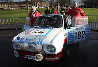 Karel Mach - Jan Blaha in their Skoda 130RS at the Start of the Rallye Monte Carlo Historique 2013 which started at the People's Palace, Glasgow on 26.1.13.