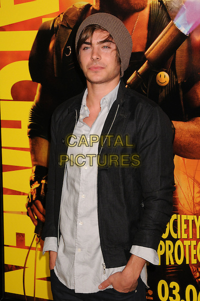 "ZAC EFRON.""Watchmen"" Los Angeles Premiere at Grauman's Chinese Theatre, Hollywood, CA, USA, 2nd March 2009..half length black jacket beanie hat white shirt brown blazer .CAP/ADM/BP.©Byron Purvis/Admedia/Capital PIctures"