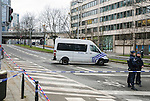 BRUSSELS - BELGIUM - 23 March 2016 -- Belgium in mourning after the terrorist attack in  Maelbeek metro station - EU quarters, and the Brussels airport in Zaventem. -- The Maelbeek metro station. The road passing it is still closed and is guarded by the police. -- PHOTO: Juha ROININEN / EUP-IMAGES