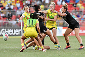 3rd February 2019, Spotless Stadium, Sydney, Australia; HSBC Sydney Rugby Sevens; New Zealand versus Australia; Womens Final;  Theresa Fitzpatrick of New Zealand forces Samantha Treherne of Australia to lose the ball