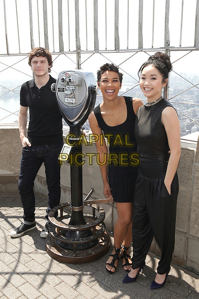 NEW YORK, NY - MAY 25: Evan Peters, Alexandra Shipp and Lana Condor promote 'X-MEN: Apocalypse' at the Empire State Building on May 25, 2016 in New York City. Credit: Diego Corredor/Media Punch<br /> CAP/MPI/DIE<br /> &copy;DIE/MPI/Capital Pictures