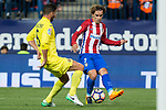 Mussacchio of Villarreal competes for the ball with Antoine Griezmann of Atletico de Madrid during the match of La Liga between Atletico de Madrid and Villarreal at Vicente Calderon  Stadium  in Madrid, Spain. April 25, 2017. (ALTERPHOTOS/Rodrigo Jimenez)