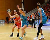 29th November 2019; Bendat Basketball Centre, Perth, Western Australia, Australia; Womens National Basketball League Australia, Perth Lynx versus Southside Flyers; Katie Ebzery of the Perth Lynx drives to the basket in front of Jenna O'Hea of the Southside Flyers - Editorial Use