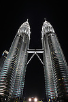 The Petronas Towers, also known as the Petronas Twin Towers are twin skyscrapers which stand 452 meters (1483 ft) in Kuala Lumpur, Malaysia. 2nd August 2008. (Photo Steve Christo).