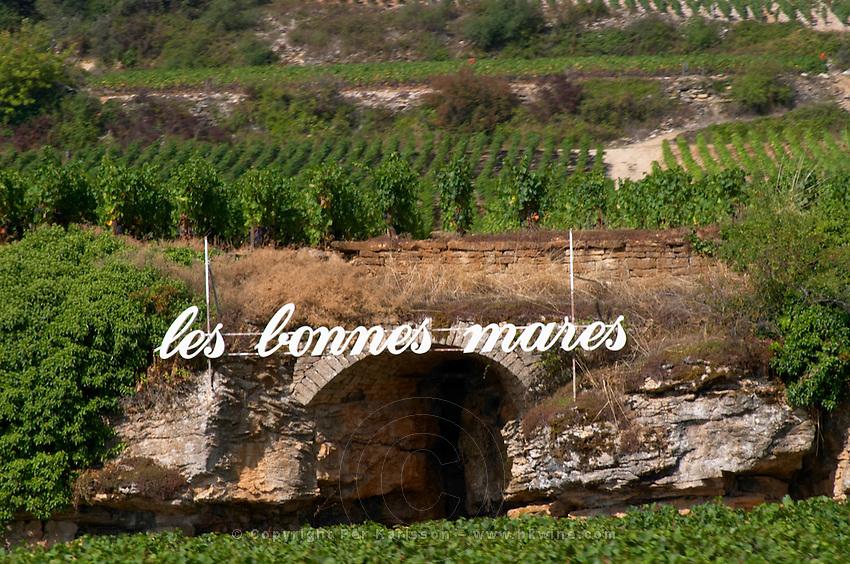 vineyard sign les bonnes mares gc chambolle-musigny cote de nuits burgundy france
