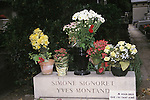 Simone Signoret & Yves Montand grave site in Paris, France on August 18, 1998.