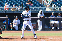 Peoria Javelinas first baseman Evan White (15), of the Seattle Mariners organization, at bat during an Arizona Fall League game against the Scottsdale Scorpions at Peoria Sports Complex on October 18, 2018 in Peoria, Arizona. Scottsdale defeated Peoria 8-0. (Zachary Lucy/Four Seam Images)