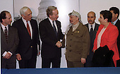 Palestinian Leader Yassir Arafat is welcomed to a meeting with United States Senators by United States Senator Joseph I. Lieberman (Democrat of Connecticut) in the U.S. Capitol in Washington, D.C. on March 4, 1997.  From left to right: U.S. Senator Paul Wellstone (Democrat of Minnesota), U.S. Senator Frank Lautenberg (Democrat of New Jersey),  Senator Lieberman, Chairman Arafat, Palestinian Representative to the United States Hassan Rahman, and Palestinian Cabinet member Hanan Ashrawi..Credit: Ron Sachs / CNP