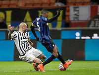Calcio, Coppa Italia: semifinale di ritorno Inter vs Juventus. Milano, stadio San Siro, 2 marzo 2016. <br /> FC Inter&rsquo;s Juan Jesus, right, is challenged by Juventus&rsquo; Simone Zaza during the Italian Cup second leg semifinal football match between Inter and Juventus at Milan's San Siro stadium, 2 March 2016.<br /> UPDATE IMAGES PRESS/Isabella Bonotto