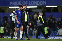 Spanish players, Marcos Alonso of Chelsea and Joselu Sanmartin of Newcastle leave the pitch together after the final whistle during Chelsea vs Newcastle United, Premier League Football at Stamford Bridge on 12th January 2019